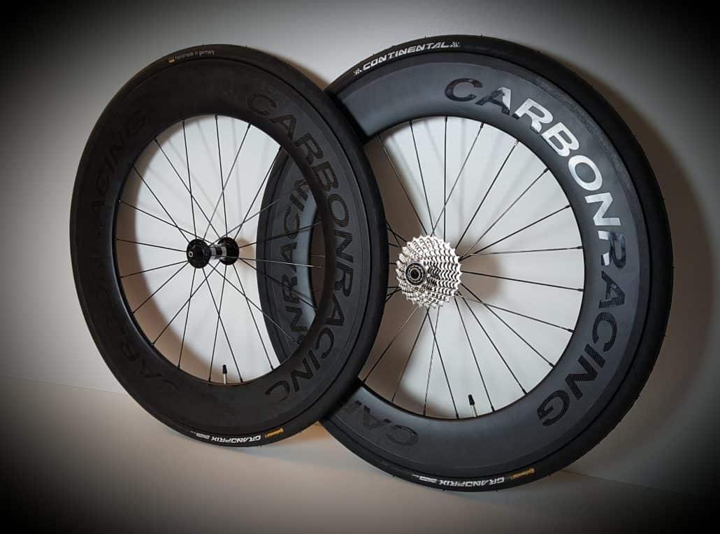 Carbon wielen voor tijdrit inclusief banden en cassette