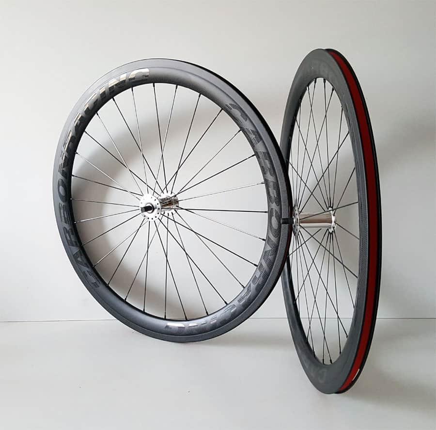 handbike of rolstoel carbon wielset met 50mm velgen